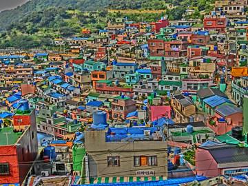 釜山市甘川洞文化村の風景