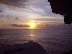 おがさわら丸からの夕陽