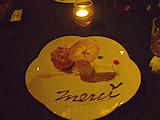 お食事会のデザートはリンゴのタルトとアイスクリーム焼きリンゴ添え
