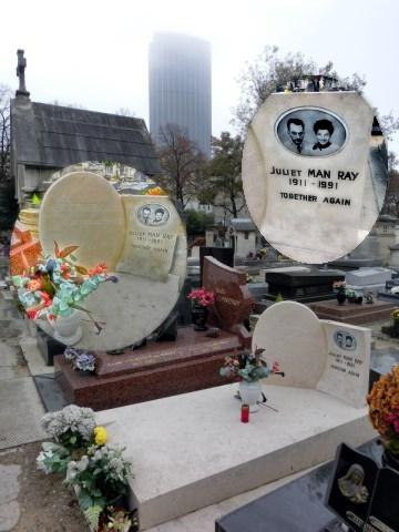 マン・レイのお墓越しのモンパルナスタワー